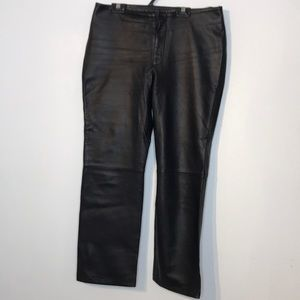View lamb genuine straight leg leather pants